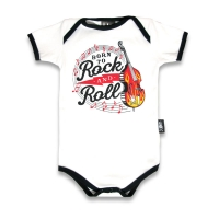 Hvid babybody med bas, noder og teksten 'Born to Rock And Roll '