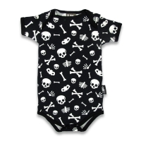 Sort babybody med hvide skulls and bones