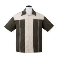 The Oswald Button Up er klassisk skjorte fra Steady Clothing i olivengrøn og beige