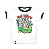 Sød og sej hvid t-shirt med vampyr og teksten 'When I grow uo, I want to be a Mummy'