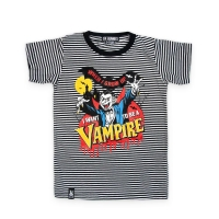 Sort og hvid stribet T-shirt med vampyr og teksten 'When I grow uo, I want to be a Vampire'