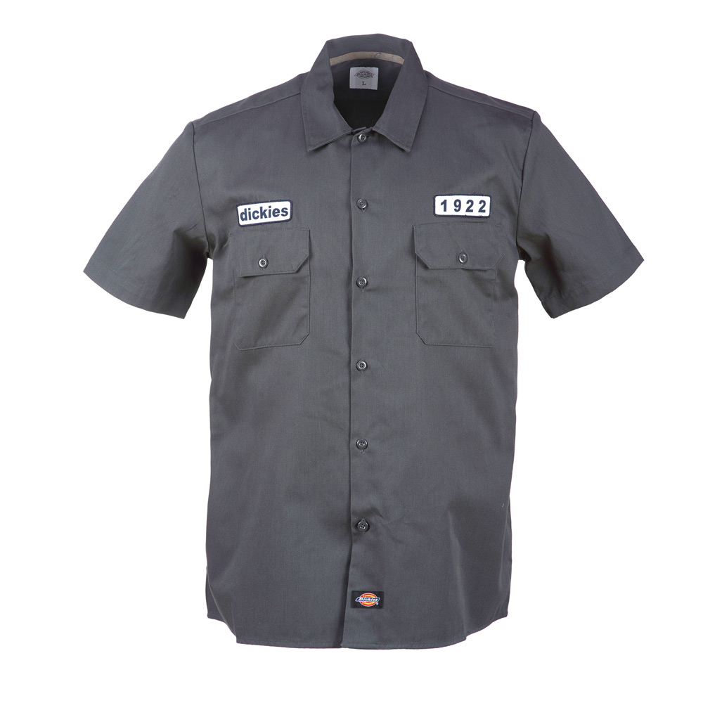 Dickies Emory Charcoal slim fit kortærmet skjorte med patches fra Dickies
