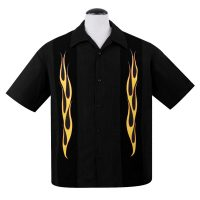 Button Up skjorte fra Steady Clothing med 'burning hotte' flammer på de 2 sorte sidepaneler